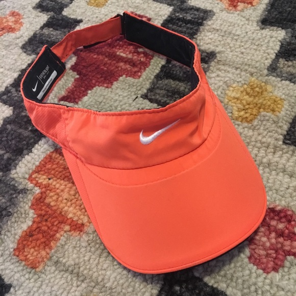 79097f27b Nike Featherlight Neon Orange Visor Adjustable